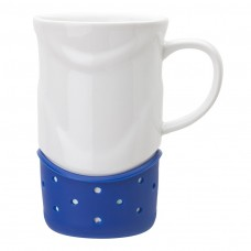 White with Navy Blue Base Ceramic Mugs | 14 oz