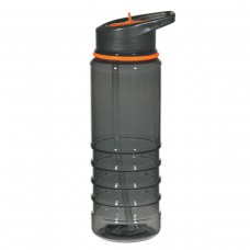 Orange Gripper Bottles With Straw | 24 oz - Charcoal With Orange Sip Top