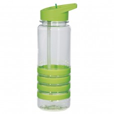 Green Banded Gripper Bottles With Straw | 24 oz - Clear With Lime Green Trim