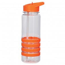 Orange Banded Gripper Bottles With Straw | 24 oz - Clear With Orange Trim