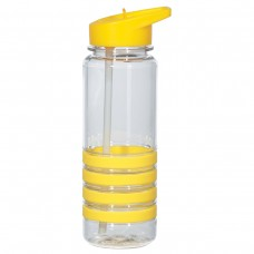 Yellow Banded Gripper Bottles With Straw | 24 oz - Clear With Yellow Trim