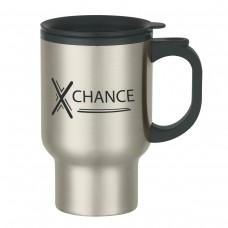 Stainless Steel Travel Mug With Sip-Thru Lid And Plastic Inner Liner   16 oz