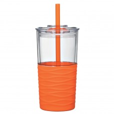Orange Riptide Tumblers | 20 oz - Clear with Orange Sleeve