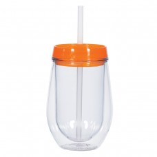 Orange Bev/Go Tumblers | 10 oz - Clear with Orange Lid