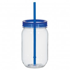Blue Mason Jar With Matching Straw | 25 oz
