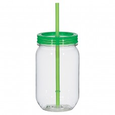 Lime Green Mason Jar With Matching Straw | 25 oz