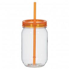 Orange Mason Jar With Matching Straw | 25 oz