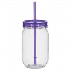 Purple Mason Jar With Matching Straw   25 oz