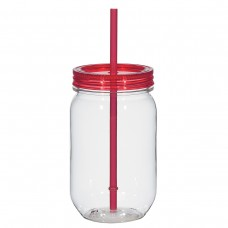Red Mason Jar With Matching Straw | 25 oz