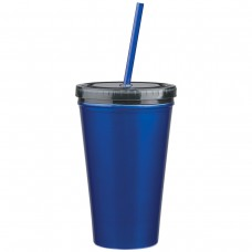 Blue Stainless Steel Double Wall Tumblers With Straw | 16 oz
