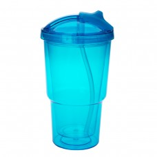 Blue Double Wall Travel Tumblers With Straw | 16 oz - Teal