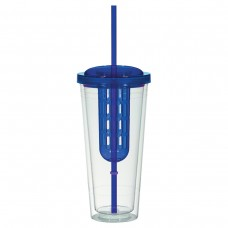 Clear With Blue Lid and Chamber Double Wall Infusion Tumblers | 20 oz