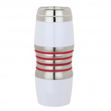 Red Acrylic & Steel Tumblers | 16 oz - Stainless Steel with Red Rings