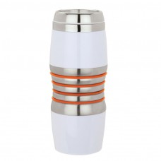 Orange Acrylic & Steel Tumblers | 16 oz - Stainless Steel with Orange Rings