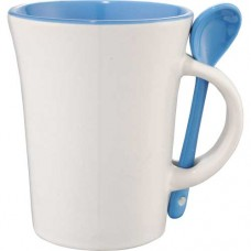 White with Blue Trim Dolce Ceramic Mugs With Spoon | 10 oz