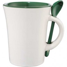 Green Dolce Ceramic Mugs With Spoon | 10 oz - White with Green Trim