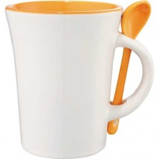 Orange Dolce Ceramic Mugs With Spoon | 10 oz - White with Orange Trim