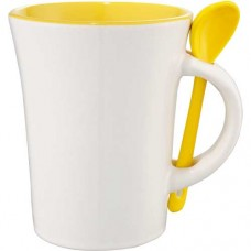 Yellow Dolce Ceramic Mugs With Spoon | 10 oz - White with Yellow Trim