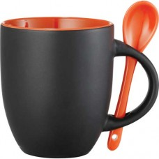 Black with Orange Lining Canyon Ceramic Mugs with Spoon | 12 oz