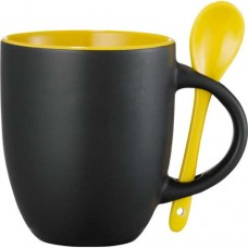 Black with Yellow Lining Canyon Ceramic Mugs with Spoon | 12 oz