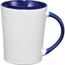 White with Blue Trim Aura Ceramic Mugs | 14 oz