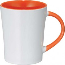 Orange Aura Ceramic Mugs | 14 oz - White with Orange Trim