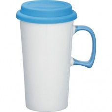 White with Blue Lid Mambo Ceramic Mugs | 17 oz