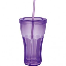 Purple Fountain Soda Tumblers With Straw | 16 oz