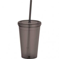 Black Tumblers with Straw | 16 oz - Smoke