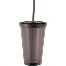 Black Cyclone Tumblers With Straw | 16 oz - Smoke