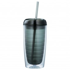 Black Twister Tumblers with Straw | 16 oz - Smoke