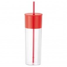 Red Color Band Tumblers With Straw | 22 oz