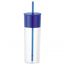 Royal Blue Color Band Tumblers With Straw | 22 oz