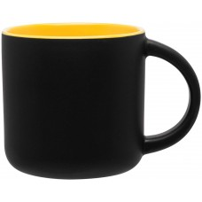 Matte Black Minolo Mugs - 14 oz - Yellow