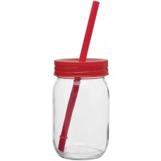 Red Glass Mason Jar With Color Lid | 16 oz