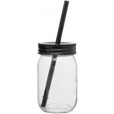 Black Glass Mason Jar With Color Lid | 16 oz