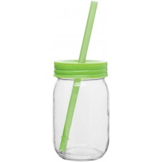 Neon Green Glass Mason Jar With Color Lid | 16 oz