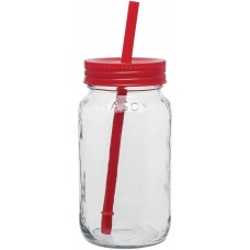 Red Glass Mason Jar With Color Lid | 25 oz