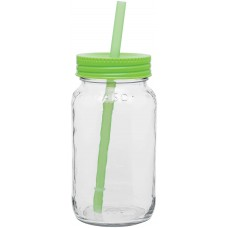 Neon Green Glass Mason Jar With Color Lid | 25 oz
