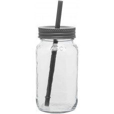 Storm Gray Glass Mason Jar With Color Lid | 25 oz