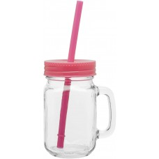 Neon Pink Glass Mason Mugs With Handle | 16 oz
