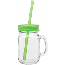 Neon Green Glass Mason Mugs With Handle | 16 oz