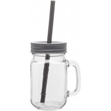Storm Gray Glass Mason Mugs With Handle | 16 oz