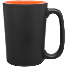 Matte Black Rocca Ceramic Mugs - 15 oz - Orange