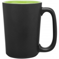 Matte Black Lime Green Rocca Ceramic Mugs 15 oz
