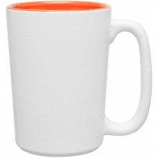 Orange Rocca Ceramic Mugs - Matte White | 15 oz