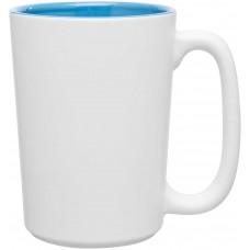 Sky Blue Rocca Ceramic Mugs - Matte White | 15 oz