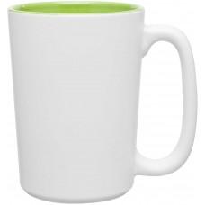 Lime Green Bolzano Ceramic Mugs - Matte White | 18 oz