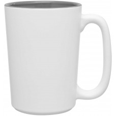 Storm Gray Rocca Ceramic Mugs - Matte White | 15 oz