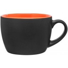 Matte Black Bolzano Ceramic Mugs - 18 oz - Orange